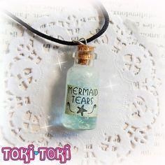Mermaid Tears Jar Necklace, Mermaid Jewelry, Mermaid Necklace, Bottle Necklace…