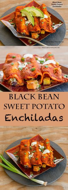 Black Bean Sweet Potato Enchiladas - A healthy and delicious vegetarian way to celebrate Cinco de Mayo, or any day!