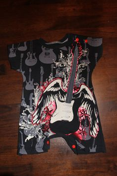 Upcycled Rock and Roll Baby Romper by ohlavache on Etsy, $20.00