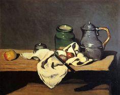 Paul Cézanne.  Stillleben mit grünem Gefäß und Zinnkessel. 1867-1869, Öl auf Leinwand, 63 × 80 cm. Paris, Musée d'Orsay. Frankreich. Postimpressionismus.  KO 01216