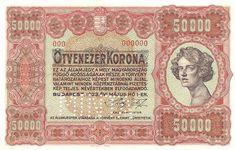 50000 Крон (1920) Венгрия (Hungary) Европа Banknote, Hungary, Vintage World Maps, Literature, Design, Coining, Literatura, Design Comics