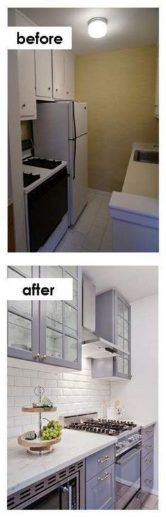 Small Kitchen Ideas: DIY Tiny Kitchen Remodel results before and after. Small Kitchen Ideas: DIY Tiny Kitchen Remodel results before and after. Great ideas for a tiny kitchen makeover on a budget! Kitchen Ikea, Kitchen Decor, Kitchen Cabinets, Kitchen Small, Rental Kitchen, Upper Cabinets, Dark Cabinets, Kitchen Island, Bathroom Cabinets