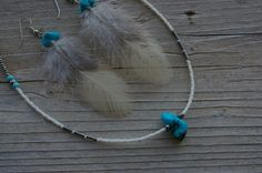 3 1/2 Bantam Feather and Turquoise Nugget  Earrings and 16 Necklace Set