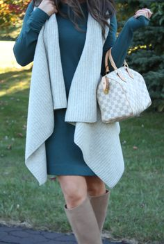 Teal Long Sleeve Knit Dress, Grey Sweater Vest, Tan Suede Tall High Heel Boots, Ivory and Grey Bag, Loft, Lou and Grey, Club Monaco, Joie, Louis Vuitton 6