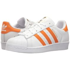 adidas Originals Superstar (White/Tactile Orange/Gold) Women's Tennis... ($80) ❤ liked on Polyvore featuring shoes, gold shoes, adidas originals shoes, rubber toe shoes, tenny shoes and lace up shoes