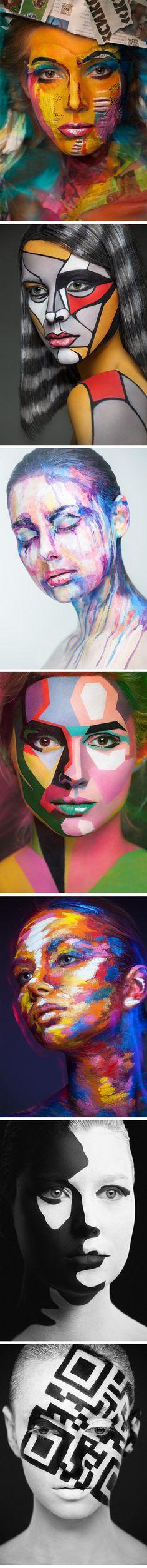 Makeup Transforms Faces Into Iconic 2D Prints...
