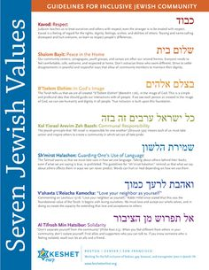 Seven Jewish Values from Keshet. Keshet is an organization that works with the LGBTQ and Jewish community. This community is something that I am working in and hope to help build.