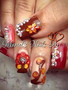 Credit to Mariels nails art Holiday Nail Art, Winter Nail Art, Autumn Nails, Thanksgiving Nail Designs, Thanksgiving Nails, Thanksgiving Ideas, Nagel Bling, November Nails, Seasonal Nails