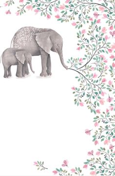 Elephants and flowers Elephant Wallpaper, Animal Wallpaper, Wallpaper Backgrounds, Elephant Love, Elephant Art, Elephant Illustration, Illustration Art, Animal Drawings, Art Drawings