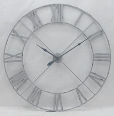 Off White 110cm Vintage Metal Wall Clock