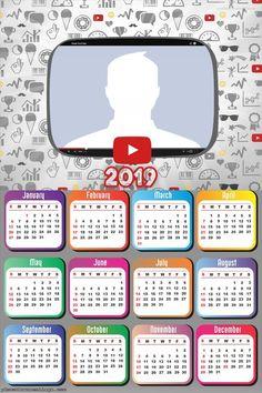 Youtube Calendar 2019 Photo Montage 2019 Calendar, Collage Frames, Photomontage, Picture Frames, Youtube, Spiderman, Hello Kitty, Templates, Christmas