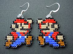 Handmade Seed Bead Mario Earrings by Pixelosis on Etsy, $25.00