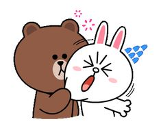 Brown & Cony's Supercharged Love / Line Sticker Cartoon Gifs, Cute Cartoon, Printable Stickers, Cute Stickers, Bear Gif, Cony Brown, Cute Bear Drawings, Love Cartoon Couple, Cute Love Gif