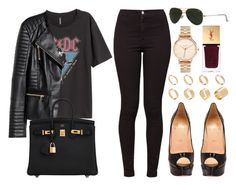 """""""#14076"""" by vany-alvarado ❤ liked on Polyvore featuring Christian Louboutin, American Apparel, H&M, Hermès, Ray-Ban, ASOS, Nixon and Yves Saint Laurent"""
