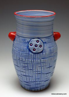 Blue Denim Vase with Red Knobs by rebeccalowery on Etsy, $55.00
