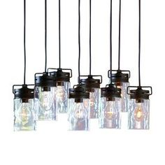 allen + roth Vallymede 7.7-in Aged Bronze Multi-Pendant Light with Clear Glass Shade