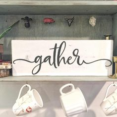 Add a finishing touch to your modern farmhouse dining room with this beautiful white and gray gather sign. This sign is versatile and can be used in addition to your other thanksgiving decor or displayed all year.  Each sign is stained in Jacobean and painted in French White and Charcoal Gray. This sign is offered in 7.25 x 20 and 7.25 x 24 and is crafted from hand selected pine wood. A saw-tooth hanger is included to give you the option of hanging your sign.  Please contact us if you are in…
