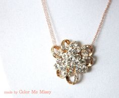Rose Gold Luxe Crysatl Cluster Pendant Necklace  by ColorMeMissy, $30.00