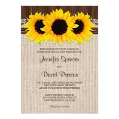 Rustic Country Sunflower Bridal Shower Invitations Bridal