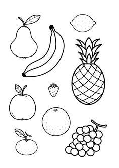 """kleurplaat bij het boekje """"Een citroen is roze"""" van Herve Tullet; fruit inkleuren met de verkeerde kleuren!"""