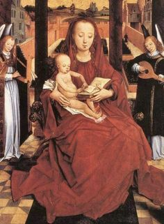Hans Memling (German-born Flemish painter, 1435-1494) Virgin And Child Enthroned With Two Musical Angels