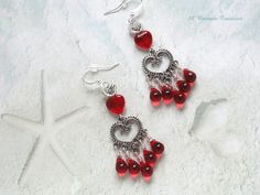 Red Heart Chandelier Earrings / Valentine Earrings / Gift for Mom / Gift for Her / Tear Drop Chandelier Earrings by ARexrodeCreations on Etsy
