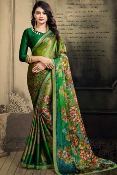 Description Light Green chiffon saree with green art silk blouse. Embellished with floral print embroidery. Saree with Asymmetrical Neck, Quarter Sleeve. It comes with unstitched blouse. Traditional Sarees, Traditional Fashion, Anarkali, Lehenga, Indian Dresses Online, Saree Wedding, Bridal Sarees, Wedding Dress, Casual Saree