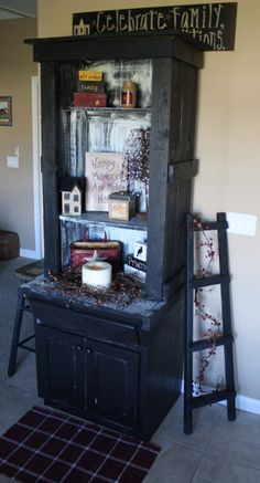 "FOR SALE: Primitive-Look Reclaimed Vanity Turned Into Tall Black 2-Piece Hutch     ASKING PRICE $200.00 OBO   Size: 30"" Wide x 26"" Deep x 80-1/2"" Tall     NOTE: I made this one myself over the past couple of days, bottom is reclaimed bathroom vanity, top part I hand-built out of top choice Douglas Fir   UniquePrimtiques@live.com"