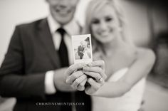 polaroid camera - paste on board with note to bride and groom