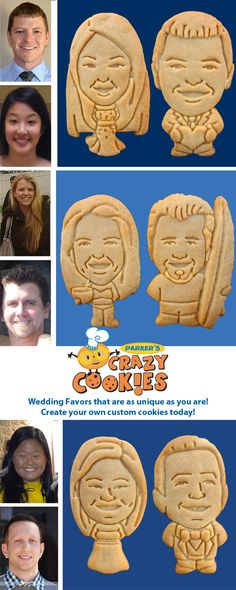 The most unique wedding favors on the market!! Create a custom cookie of you & your fiancé that will leave your guests giggling with delight! Discover the magic at www.parkerscrazycookies.com! As seen on the Food Network.