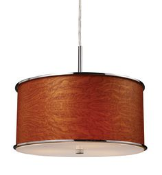 ELK Lighting 20053-3 Fabrique Three Light Drum Pendant In Polished Chrome And Wood Grain Styled Shade