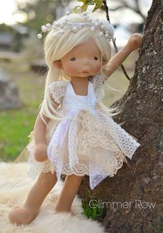 natural fiber, waldorf inspired, cloth art doll by Glimmer Row Fairy Clothes, Doll Clothes, Girl Dolls, Baby Dolls, American Girl, Doll Tutorial, New Dolls, Sewing Toys, Waldorf Dolls