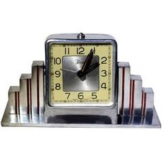 View this item and discover similar for sale at - Fabulous Art Deco French alarm bedside clock by Dep. The actual clock that sits between two skyscraper pillars Bedside Clock, Desk Clock, Outdoor Clock, Design Movements, Art Deco Furniture, Art Deco Design, Art And Architecture, 1930s, Art Nouveau