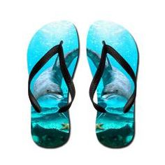 Dolphin Flip Flops A proud dolphin swims in the ocean - a beautiful underwater scene  €14.50