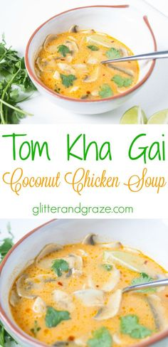Tom Kha Gai- coconut chicken soup is so tasty. I cannot get enough of this soup. Crockpot Recipes, Chicken Recipes, Cooking Recipes, Healthy Recipes, Asian Soup, Asian Recipes, Ethnic Recipes, Soup And Salad, Soups And Stews