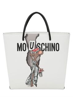 MOSCHINO Printed Shopping Tote Bag, White. #moschino #bags #shoulder bags #hand bags #tote #