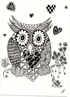 Zentangle - Owl | zentagle drawing