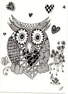 Zentangle - Owl   zentagle drawing