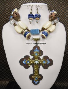 Cowgirl Western Cross Necklace Set - Blue  White Necklace - Statement Necklace - Cross Pendant Necklace - Chunky Necklace - BLUE HEAVEN by CayasCreativeDesigns on Etsy