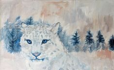 Janna Prinsloo | Snow Leopard (2020) - contemporary painting of big cat and landscape available for sale online | StateoftheART