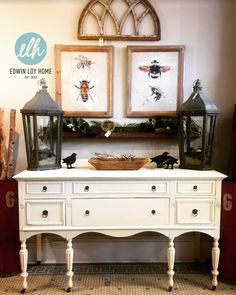 Antique Buffet painted with Chalk Paint ® by Annie Sloan in Old White + Honfleur Flyspecking. Light Distressing with a Clear Wax Finish. Antique Buffet, Using Chalk Paint, Annie Sloan Chalk Paint, Hand Painted Furniture, Home Decor Items, Kitchen Accessories, Wax, Antiques, Painting