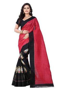Pink and Black Color Bhagalpuri Saree - kalamkari-pinkblack     #sarees #saree #look #looking #popular #fashion #amazing #trend #trending #collection #offers #look #looking #desigining #new #popular #trend #trending #look #design #fashionable