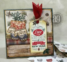 """6"""" x 6"""" holiday card using Carta Bella's wonderful """"Warm & Cozy"""" collection, Close To My Heart stamps, and the Artiste Cricut Cartridge."""