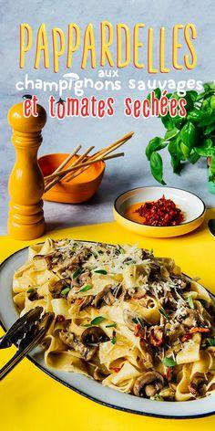 Une recette vite faite bien faite de pâtes, dans une sauce crémeuse au fromage, aux champignons et aux tomates séchées, ça se mange bien, n'importe quel soir de semaine... ou de fin de semaine. Cottage Meals, Confort Food, Sauce Crémeuse, Cooking Dishes, My Best Recipe, Mets, Dinner Dishes, Pasta Recipes, Italian Recipes