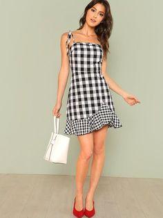 Asymmetrical Ruffle Hem Gingham Tied Cami Dress -SheIn(Sheinside)
