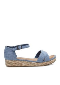 TOMS Medium Blue Harper Wedge Sandals - Girls Youth Sizes