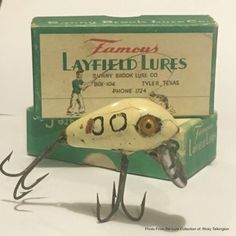 """Early Wood Layfield Lures by Jester & Floyd """"Cotton"""" Layfield from Kerens, Texas. The Layfield's started making their baits in 1935. The Layfield Brothers patented the original fishing lures in 1939."""