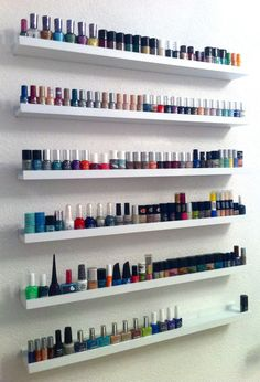 """@Brandi Northey a perfect (and cheap) solution to our nail polish storage issues!! The picture ledges you can buy at IKEA, these are the longest available, but the 21"""" are only $10 each and could fit in lots of different places, even the side of a bookcase :)  RIBBA - Ikea: for homeoepathic and Bach flower remedies (or for nail varnish!)"""