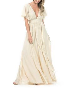 Look what I found on #zulily! Champagne Open-Back V-Neck Empire-Waist Maxi Dress…