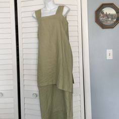 And a percent linen dress This is a 100% linen dress with  buttons back very unusual design very classy Dresses Midi